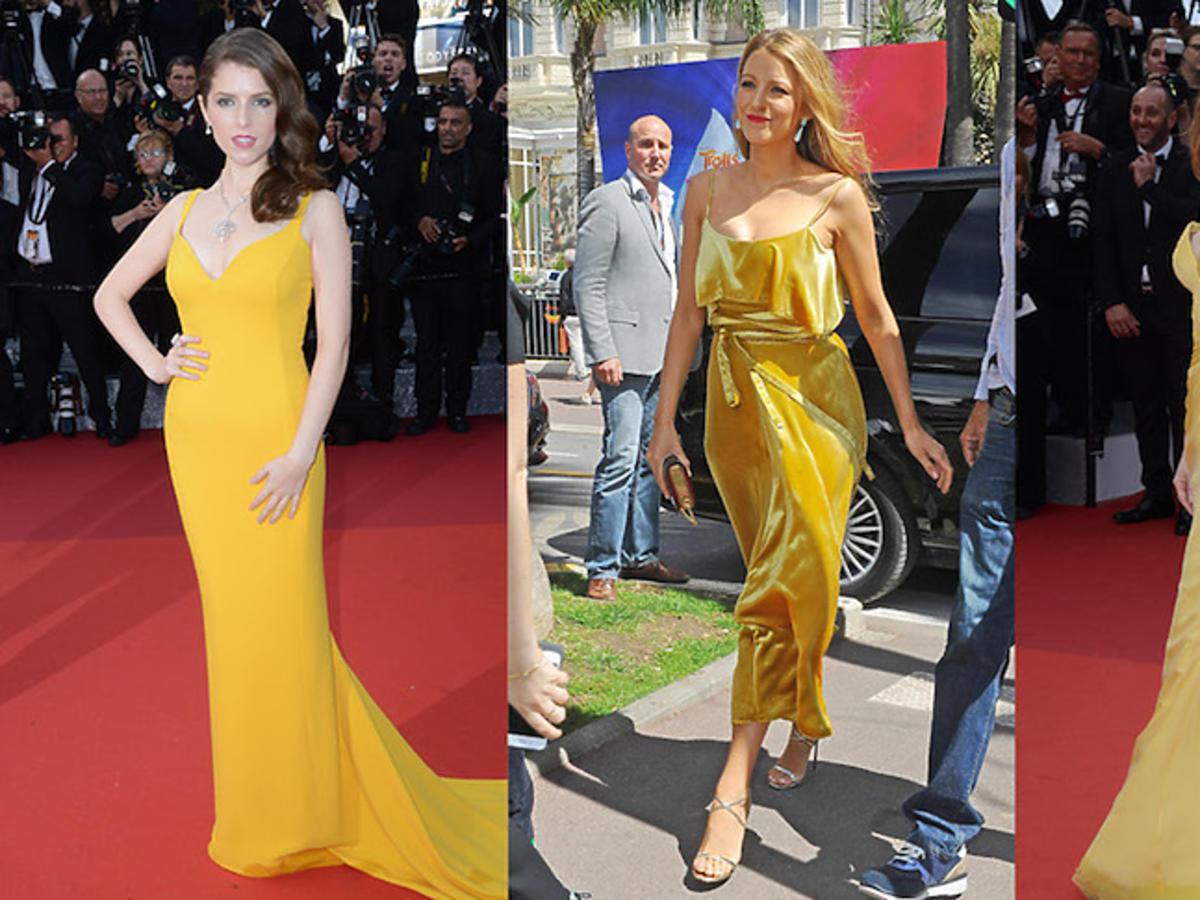 Anna Kendrick, Blake Lively, Jessica Chastain w żółtych kreacjach na festiwalu w Cannes