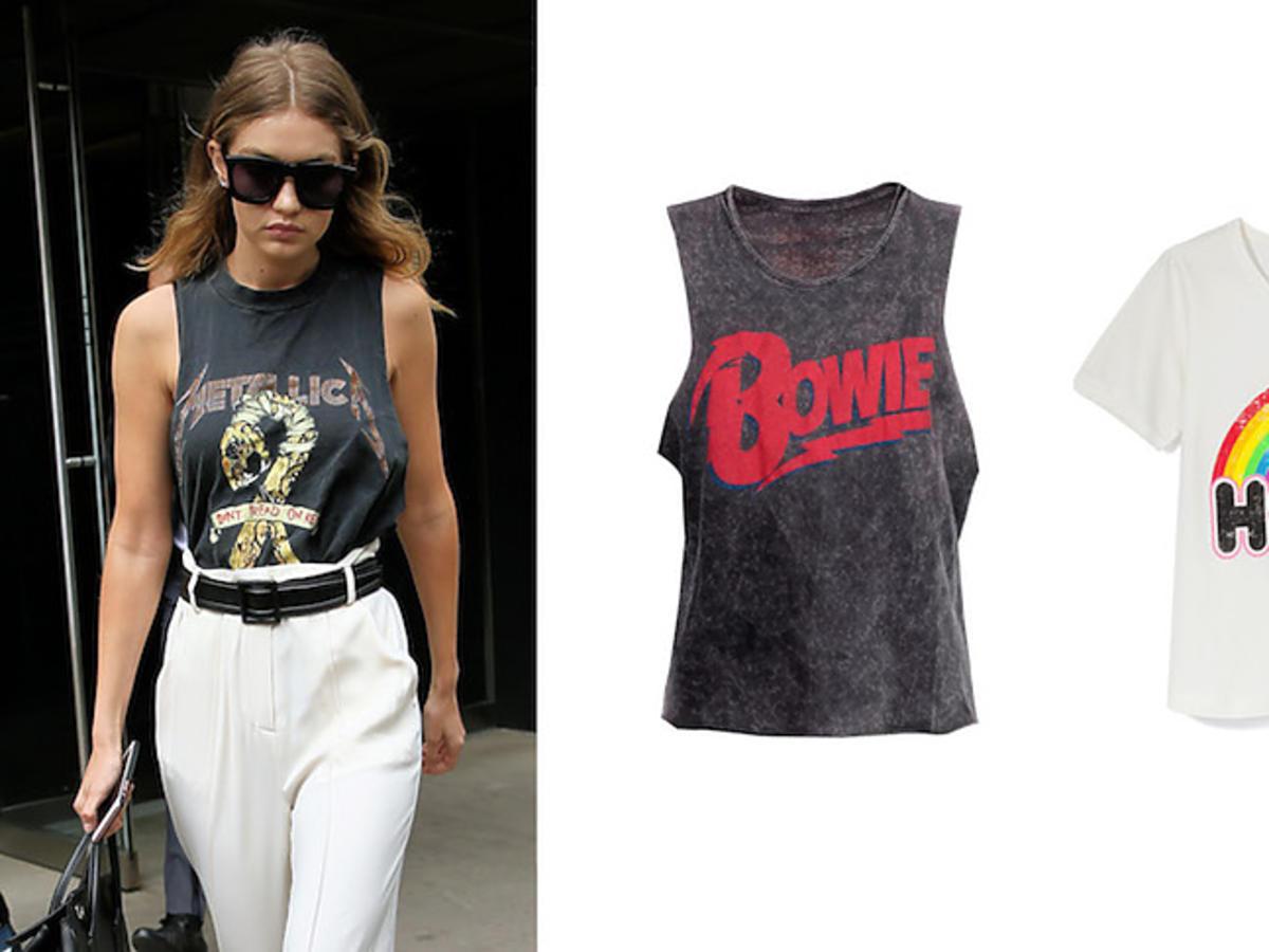 Gigi Hadid i trend na t-shirty z nadrukami
