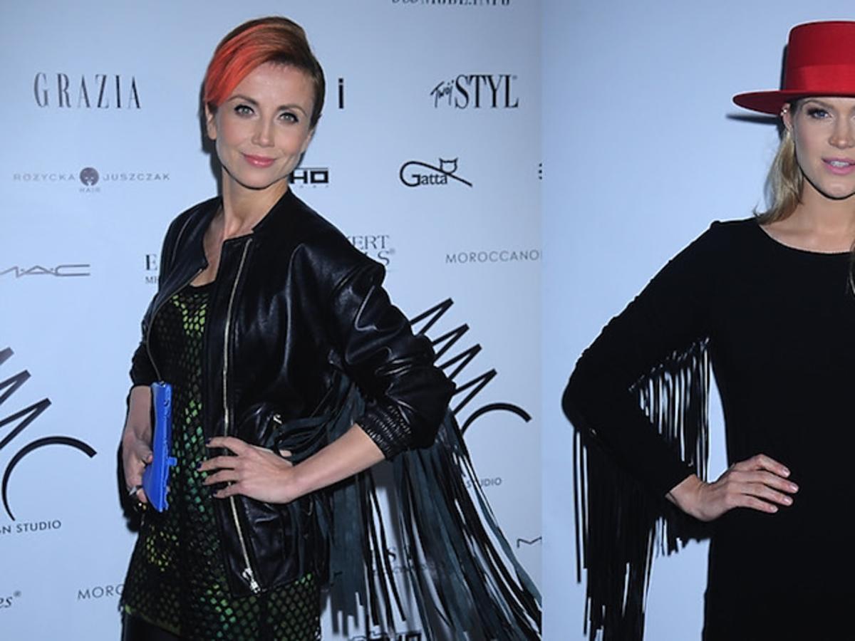 Katarzyna Zielińska i Zosia Ślotała w podobnych stylizacjach z frędzlami przy rękawach.