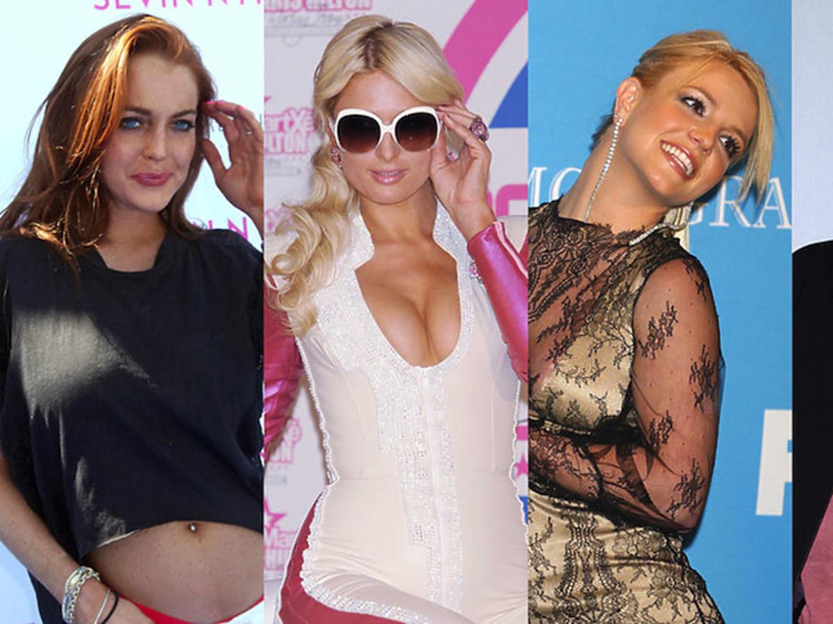 Lindsay Lohan, Paris Hilton, Britney Spears i Charlie Sheen jako imprezowe ikony