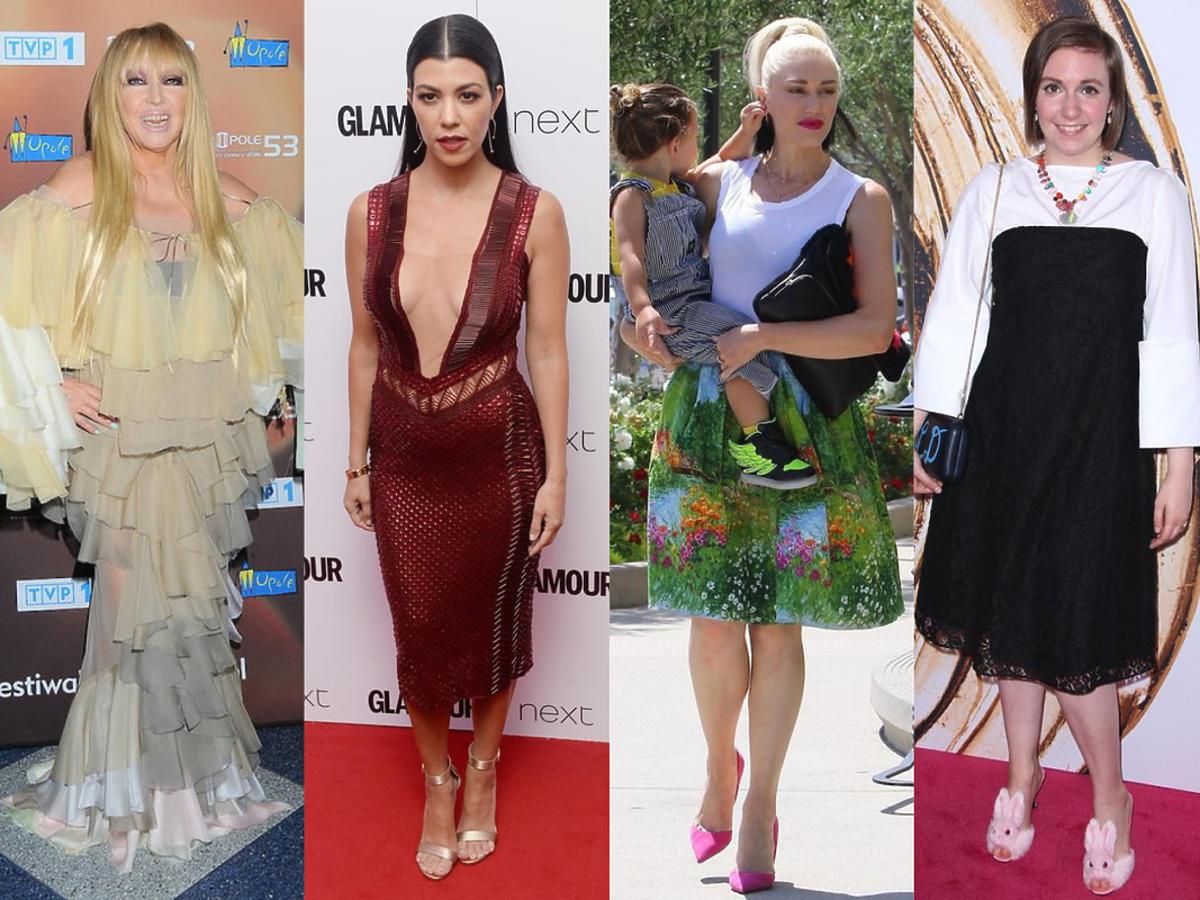 Maryna Rodowicz, Kourtney Kardashian, Gwen Stefani, Lena Dunham i Maja Hyży w nietrafionych stylizacjach