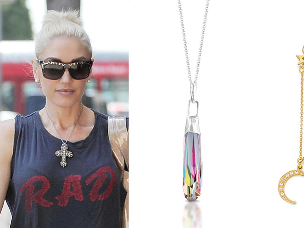 Modna stylizacja Gwen Stefani z wisiorkiem oraz propozycje z naszych sklepów