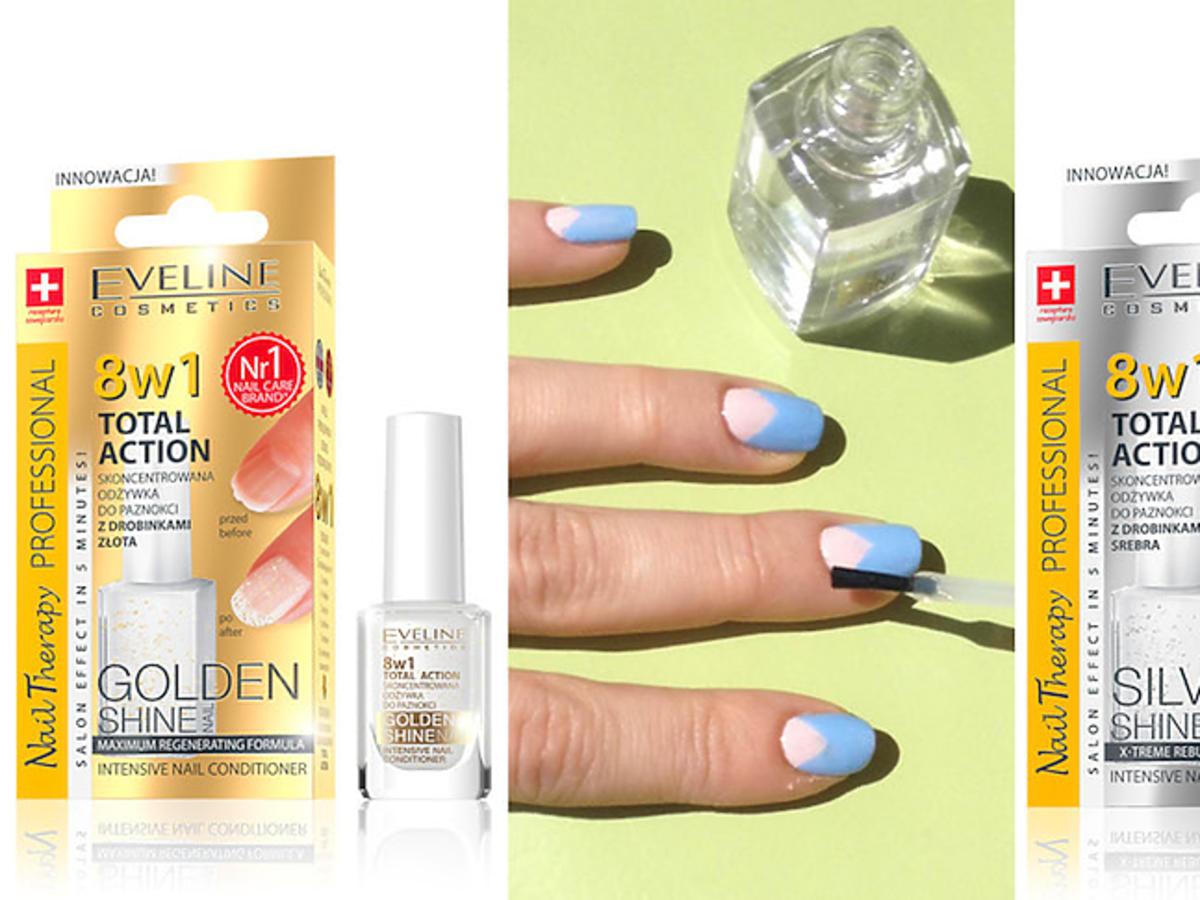 Odżywki do paznokci Eveline Cosmetics 8 in 1 Total Action i pomysł na wiosenny manicure