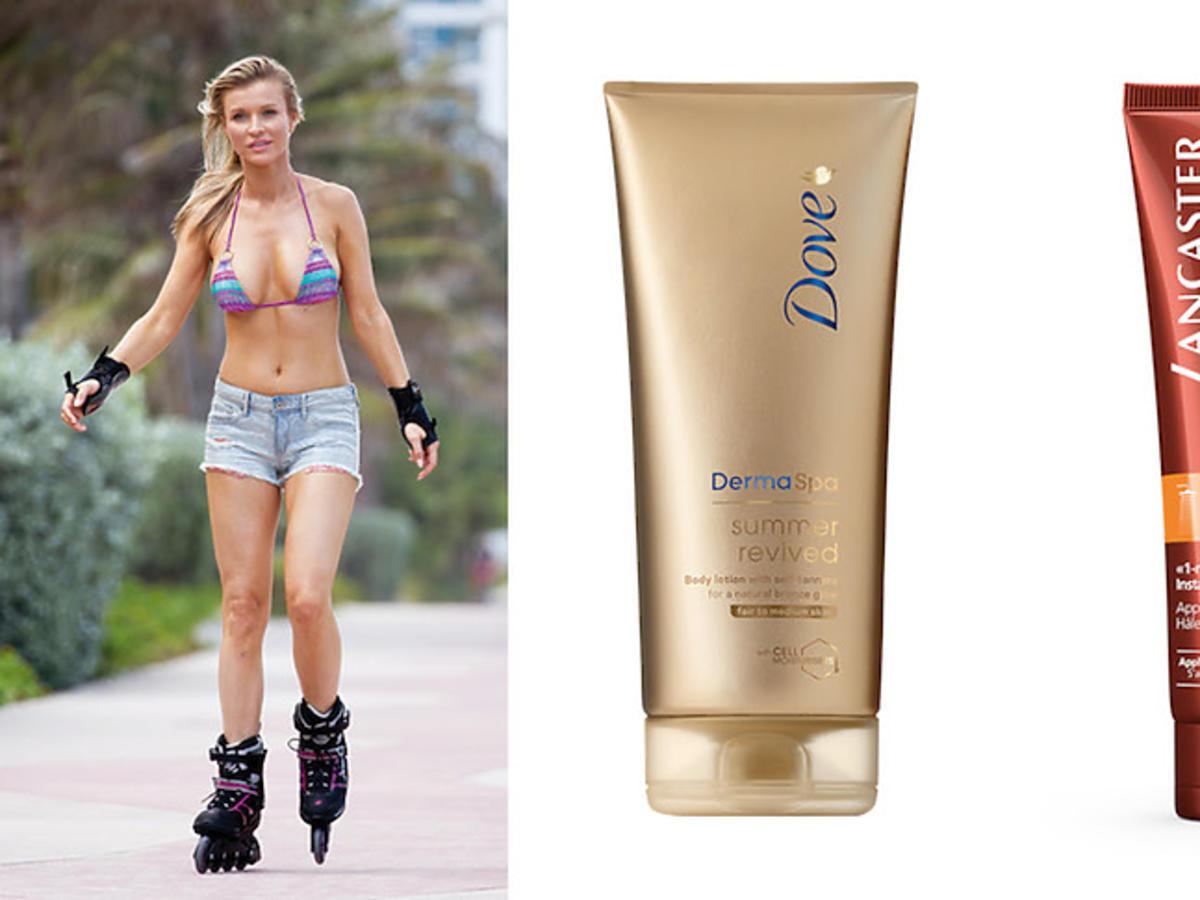 Opalona, seksowna Joanna Krupa jedzie na rolkach w skąpej stylizacji i propozycje produktów brązujących