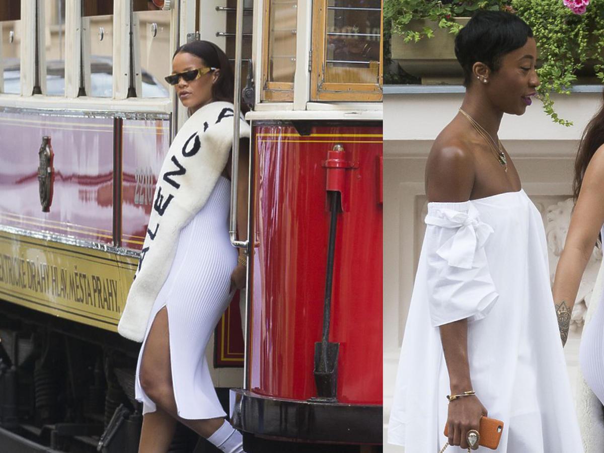 Rihanna spaceruje i jedzie tramwajem po Pradze