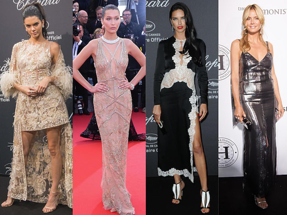 Seksowne modelki Kendall Jenner, Bella Hadid, Adriana Lima, Heidi Klum, Natasha Poly na festiwalu w Cannes