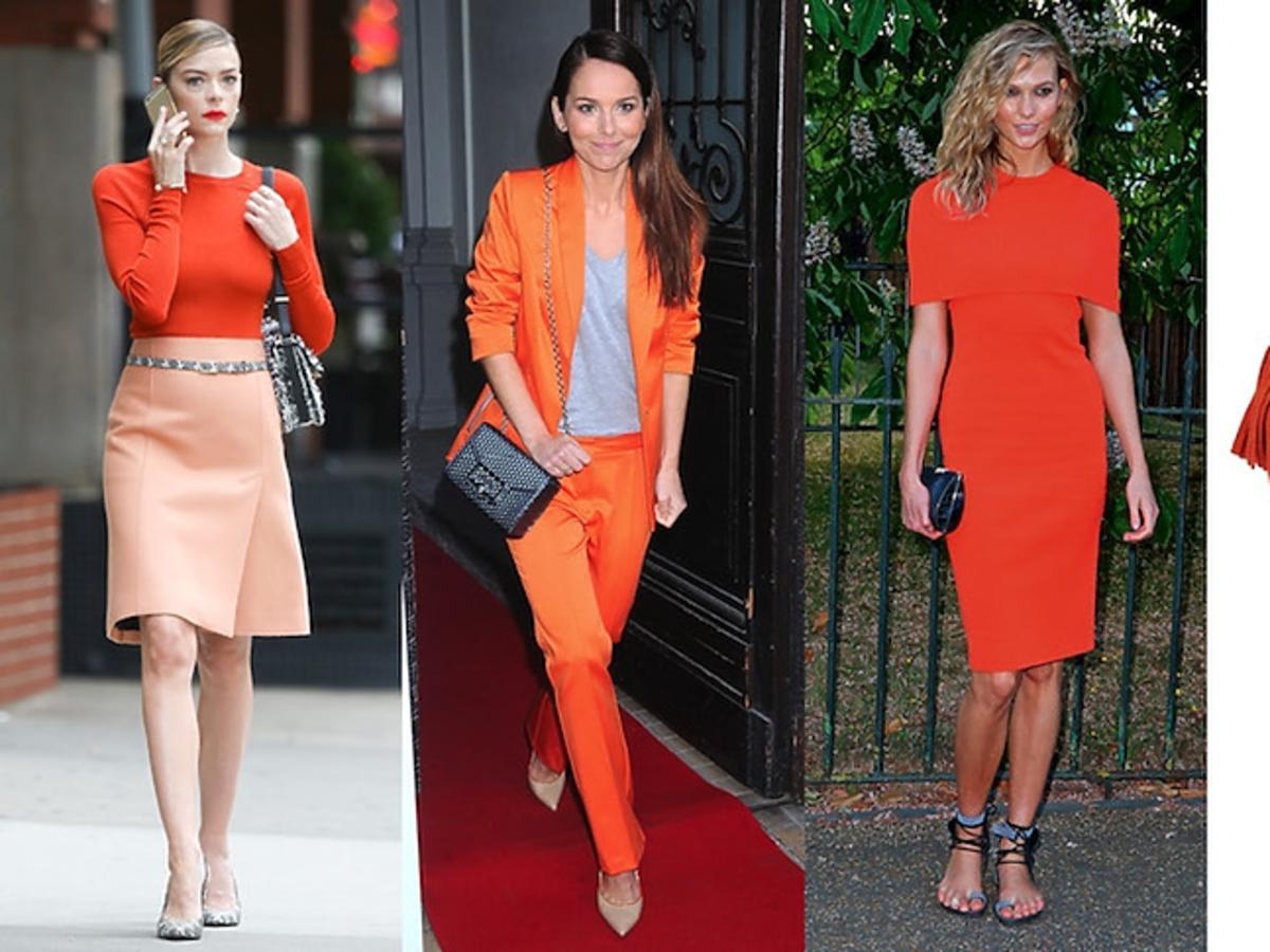 Trzy stylizacje gwiazd z pomarańczowym trendem w roli głównej oraz zdjęcie oranżowych sandałów