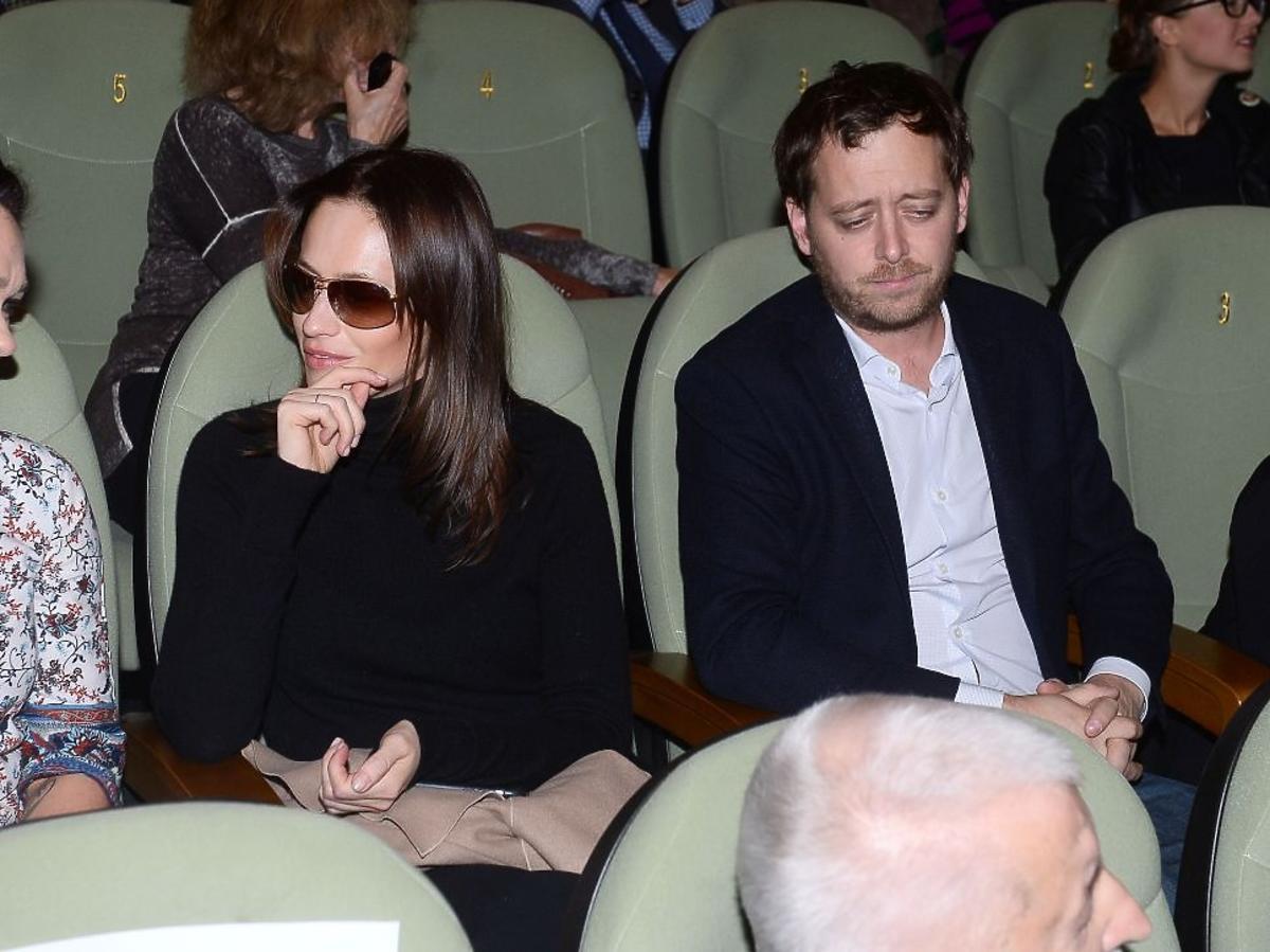 Magdalena Różczka, Jan Holoubek na premierze filmu