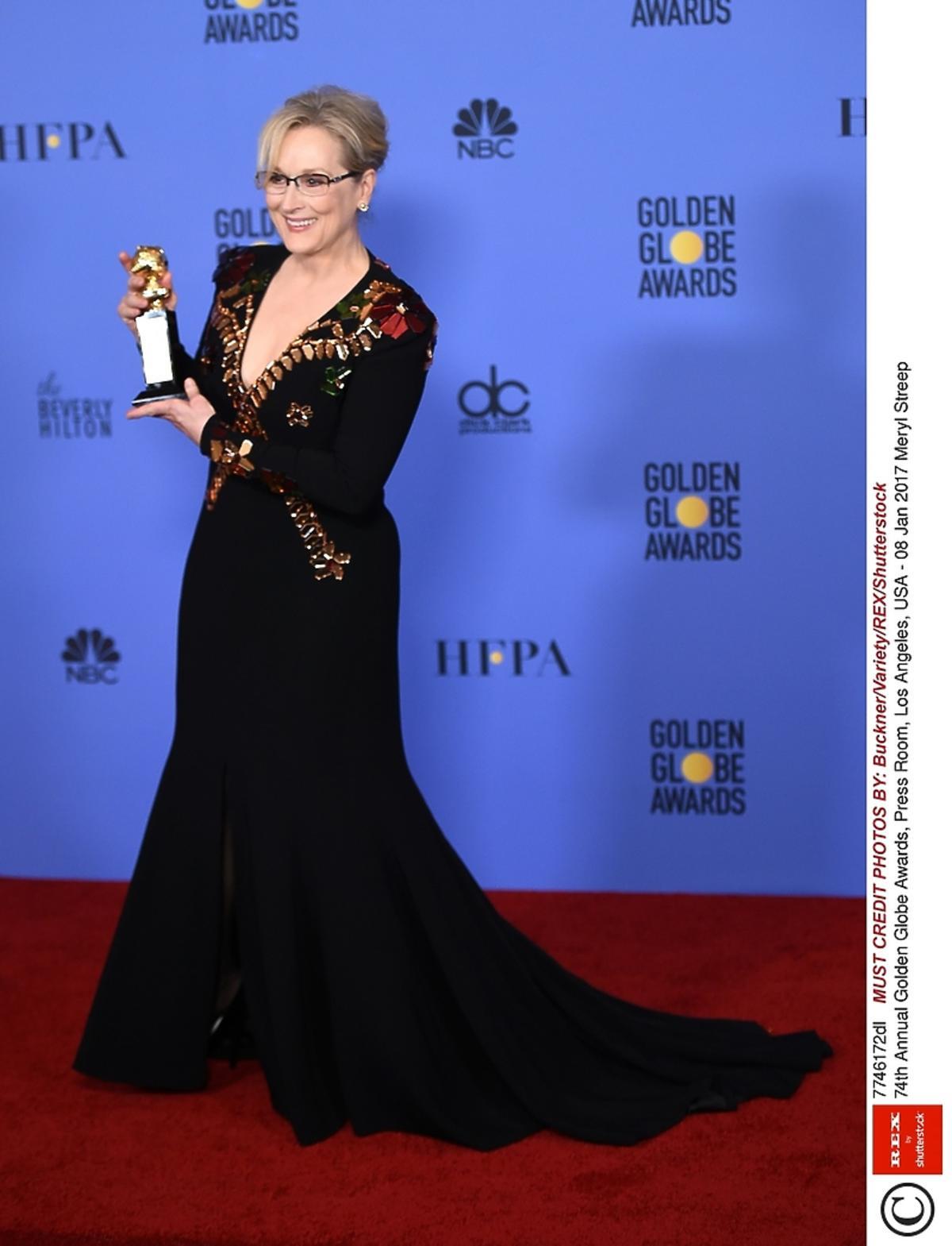 Meryl Streep podczas 74. ceremonii wręczenia Złotych Globów