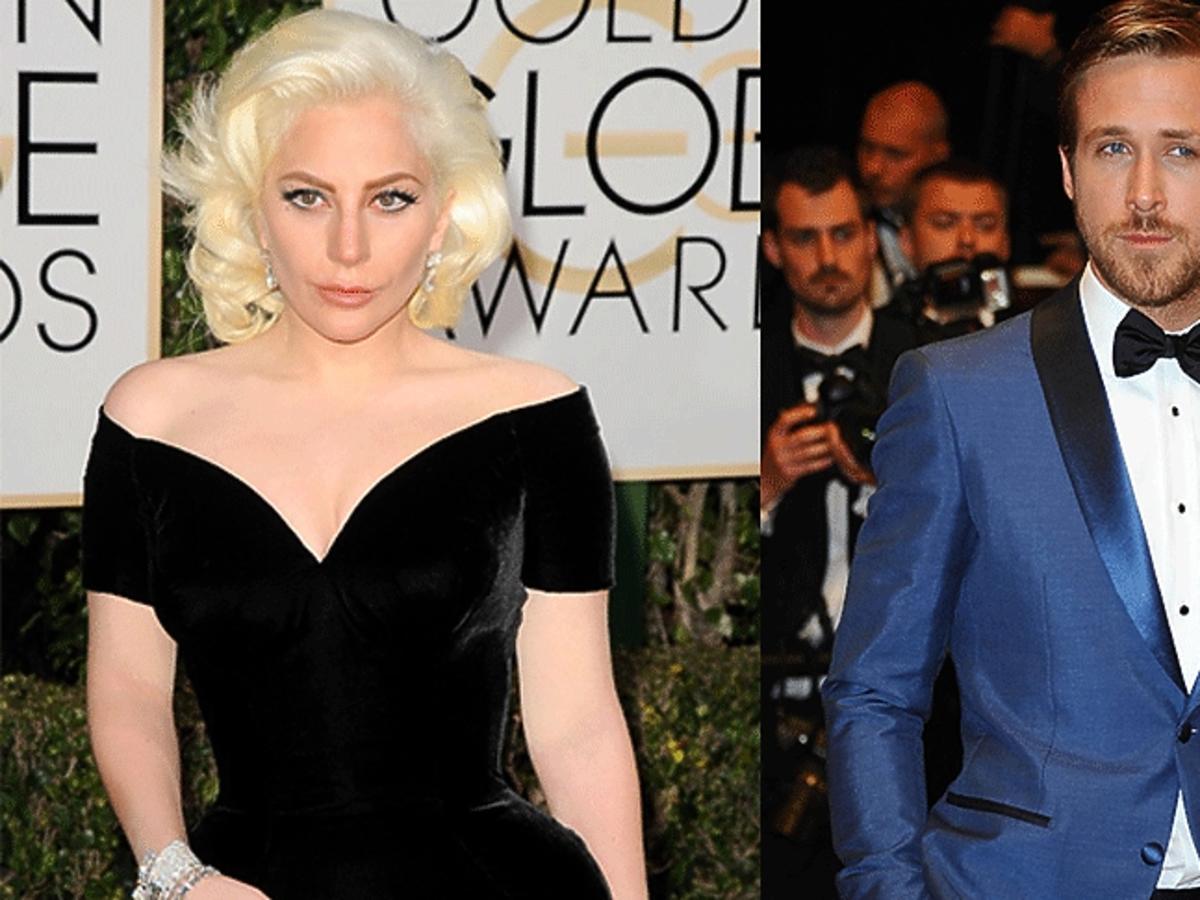 Ryan Gosling w niebieskim garniturze, Lady Gaga w czarnej sukience w dużym dekoltem