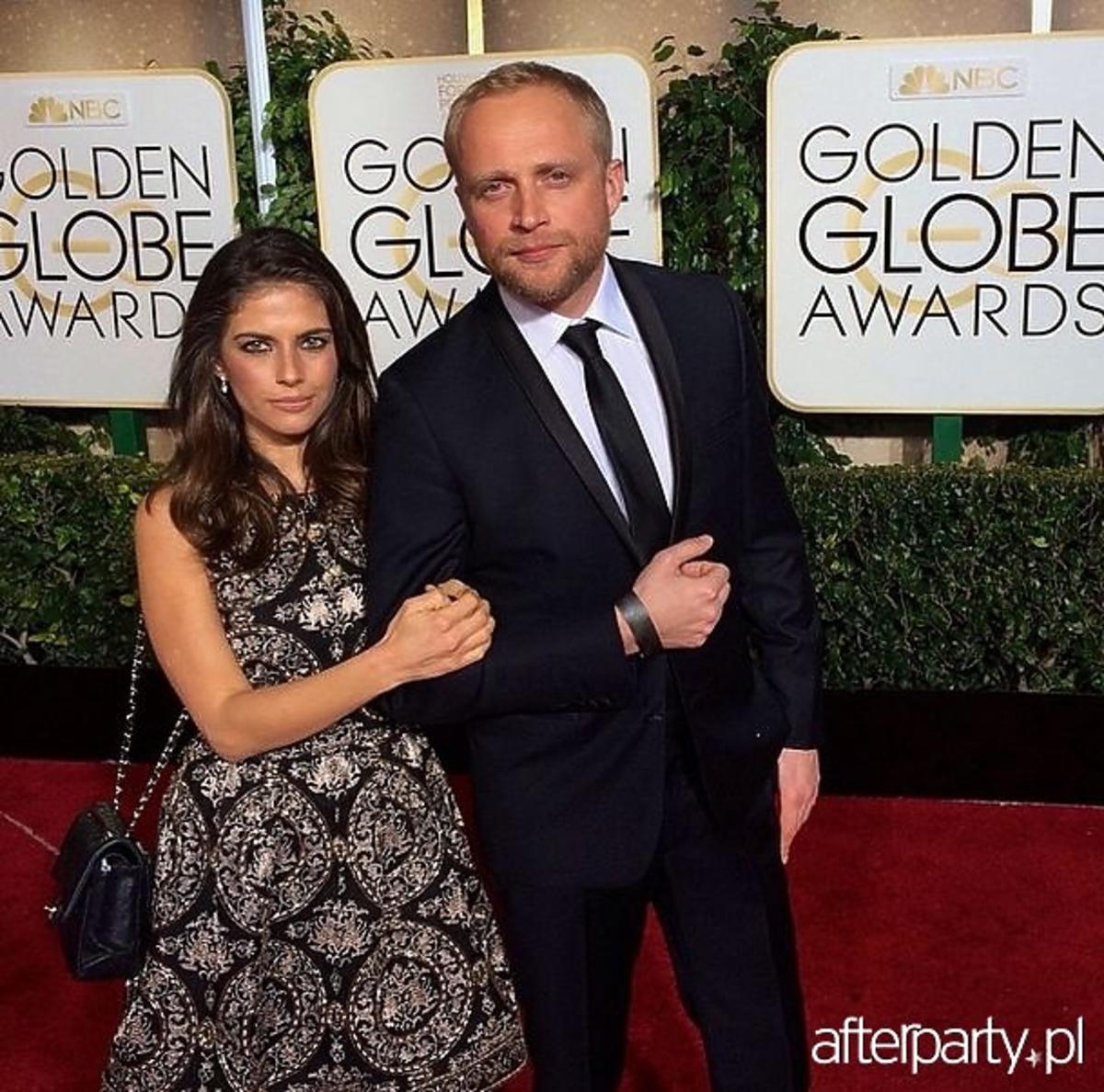 Weronika Rosati, Piotr Adamczyk pozują do zdjęć na Złotych Globach 2015