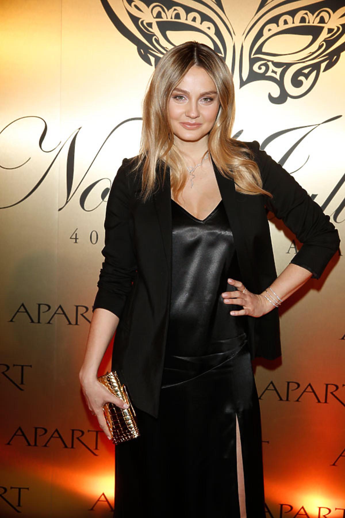 Małgorzata Socha w czarnej sukience na imprezie Apartu