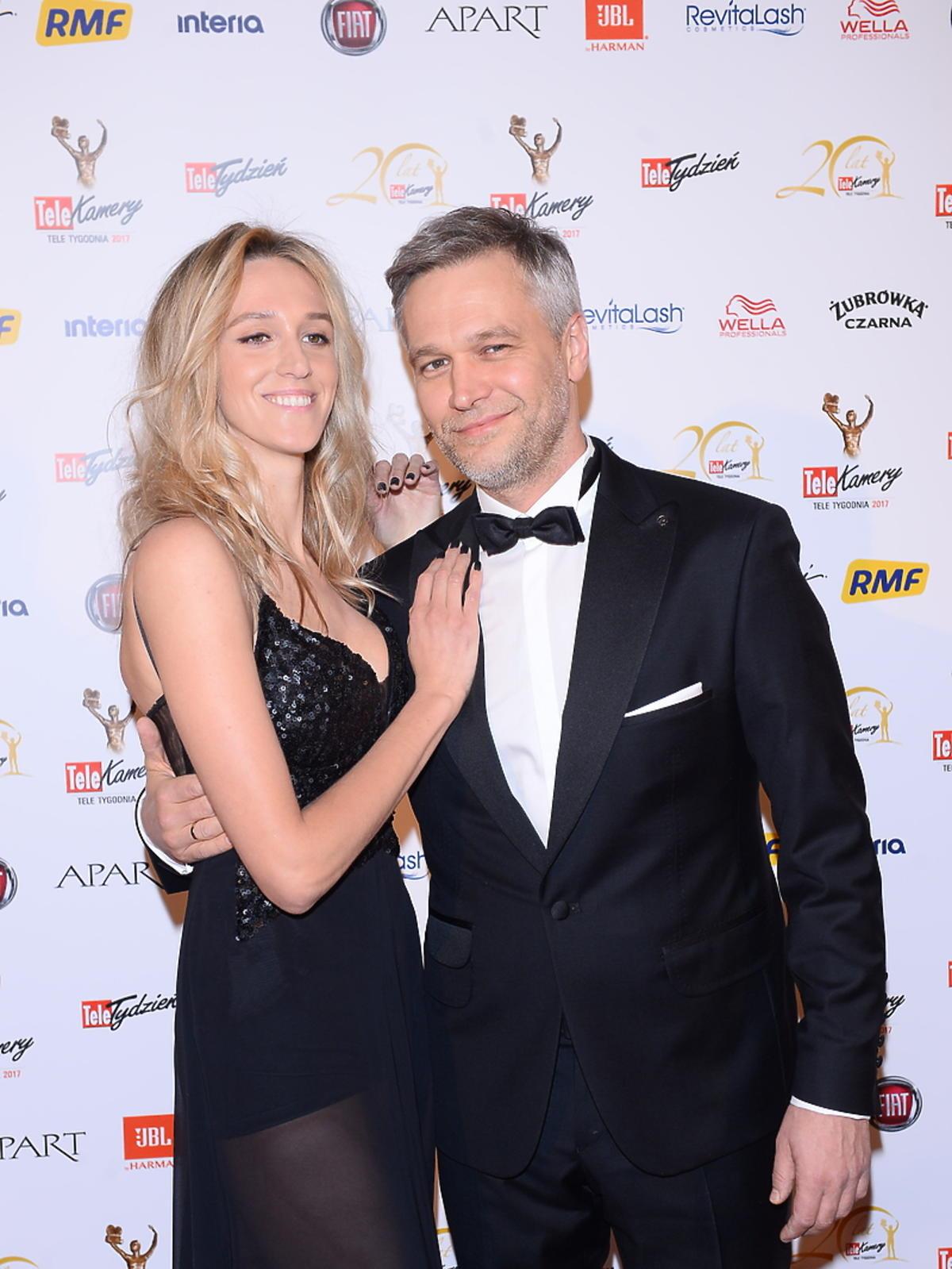 Michał Żebrowski z żoną na Telekamerach 2017