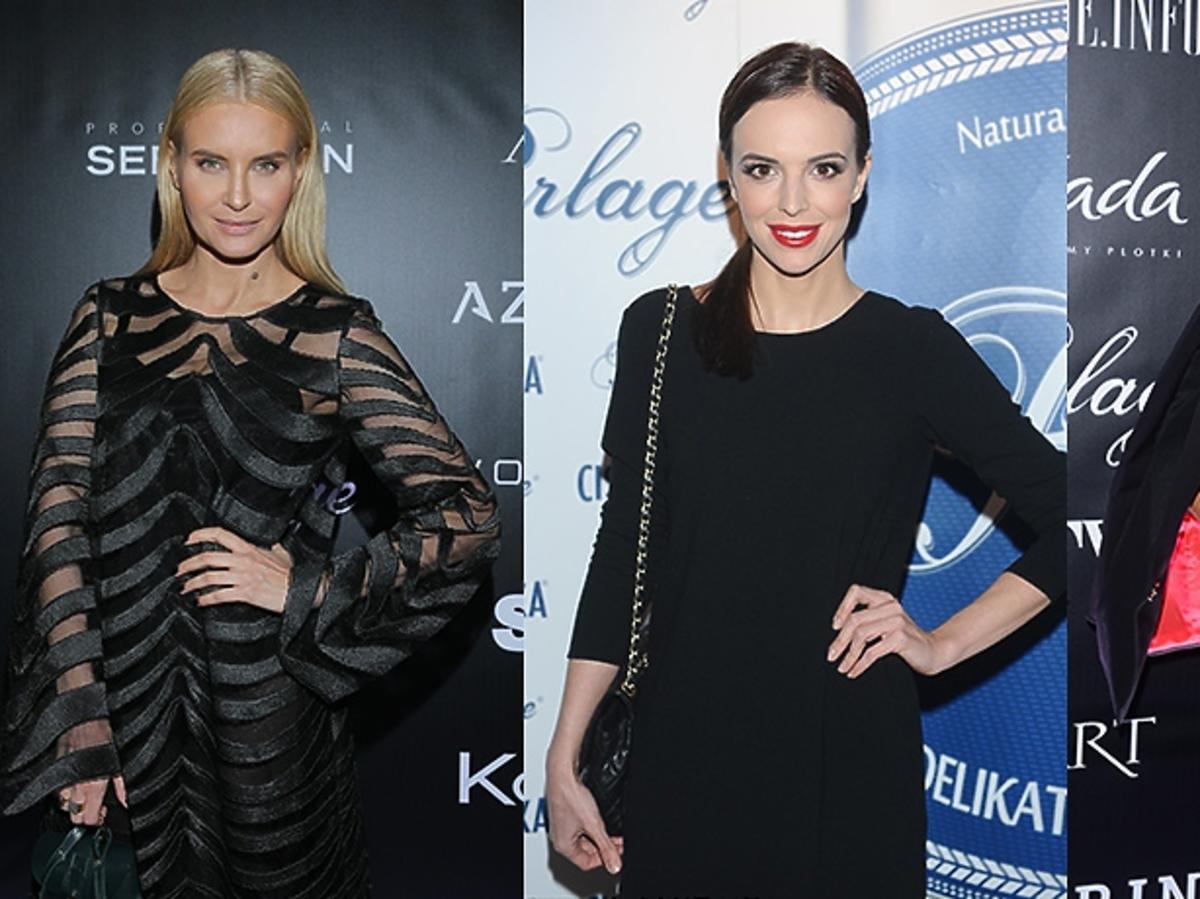 Joanna Horodyńska, Anna Wendzikowska, Natalia Siwiec pozuje do zdjęć na pokazie mody