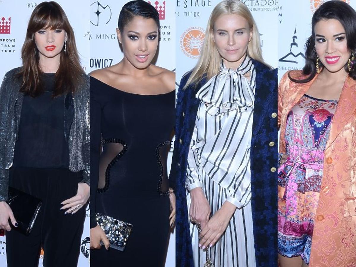 Karolina Malinowska, Joanna Horodyńska, Patricia Kazadi, Macademian Girl pozują do zdjęć na pokazie Ewy Minge