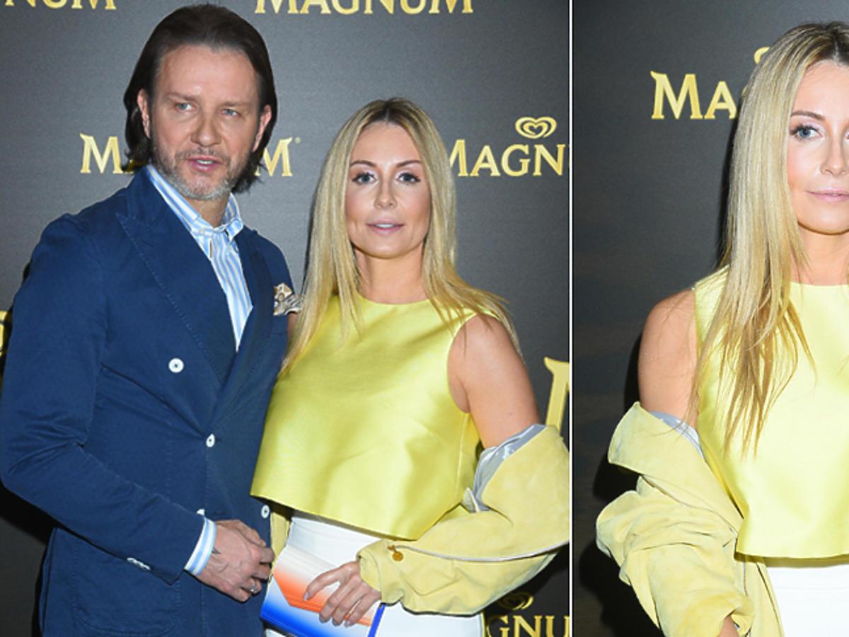 Małgorzata Rozenek i Radek Majdan na imprezie Magnum pozują do zdjęć