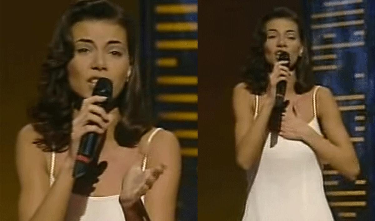 Edyta Górniak w białej sukience na scenie w Dublinie podczas Eurowizji