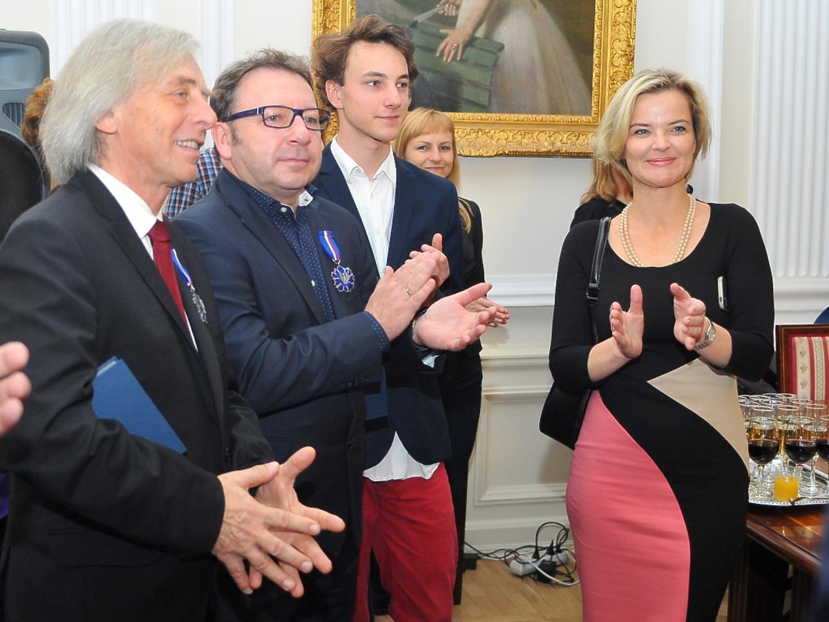 Zbigniew Zamachowski, Monika Zamachowska, Antoni Zamachowski na uroczystości w Ministerstwie Kultury
