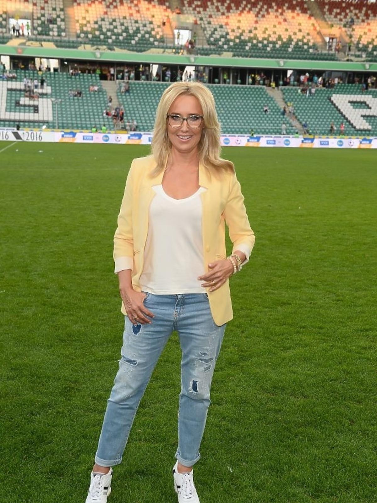 Agata Młynarska na meczu TVP kontra TVN