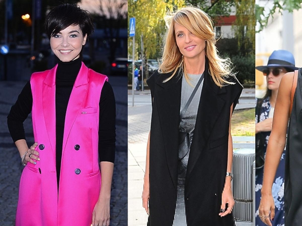 Aneta Kręglicka, Jessica Alba, Paulina Drażba w długich kamizelkach, czarnej kamizelce , różowej kamizelce