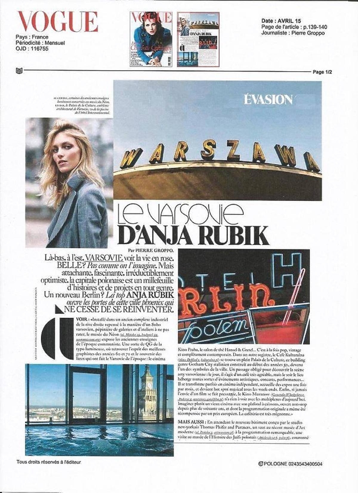 Anja Rubik we francuskim Vogue'u promuje Warszawę