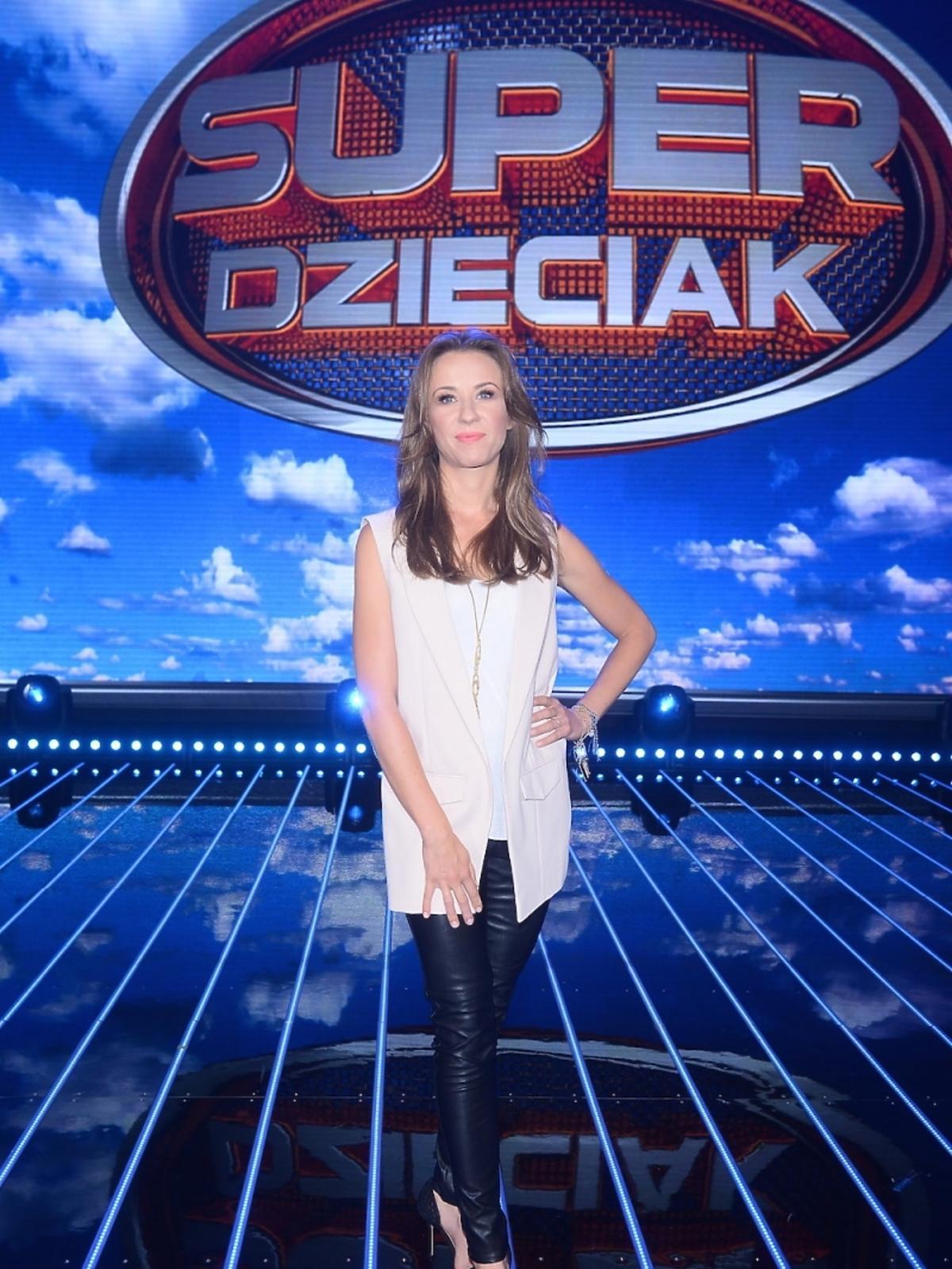 Katarzyna Ankudowicz na nagraniu programu SuperDzieciak