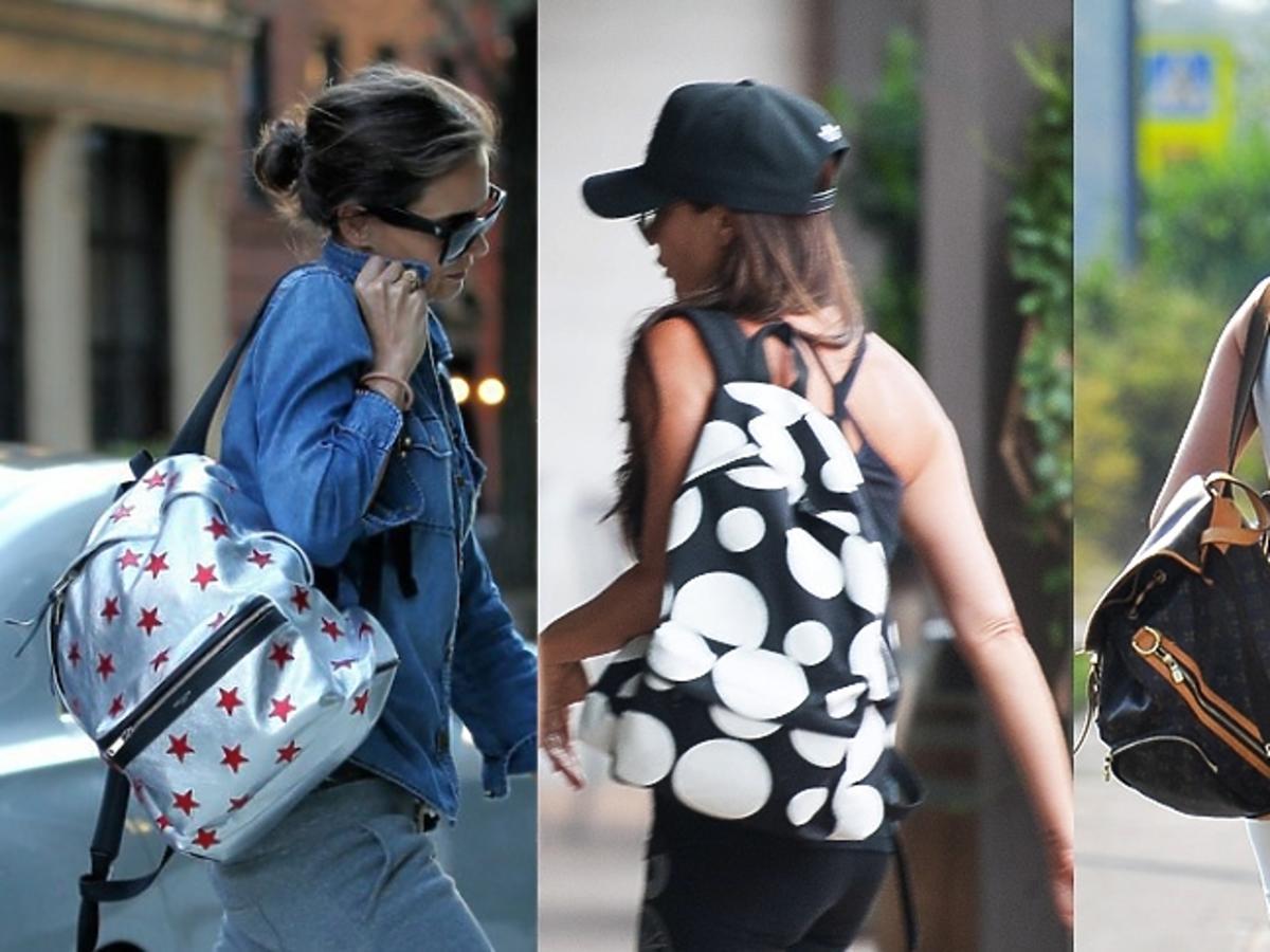 Katie Holmes,Victoria Beckham, Edyta Pazura z plecakami na ulicy
