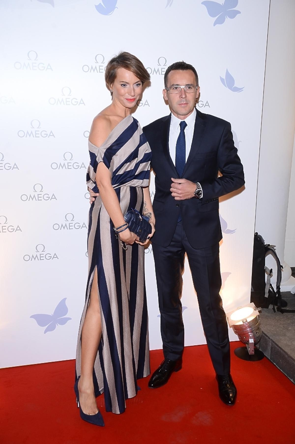 Maciej Kurzajewski i Paulina Smaszcz-Kurzajewska na otwarciu salonu Omega