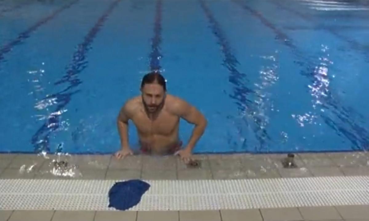 Przemysław Cypryański na treningu do Celebrity Splash