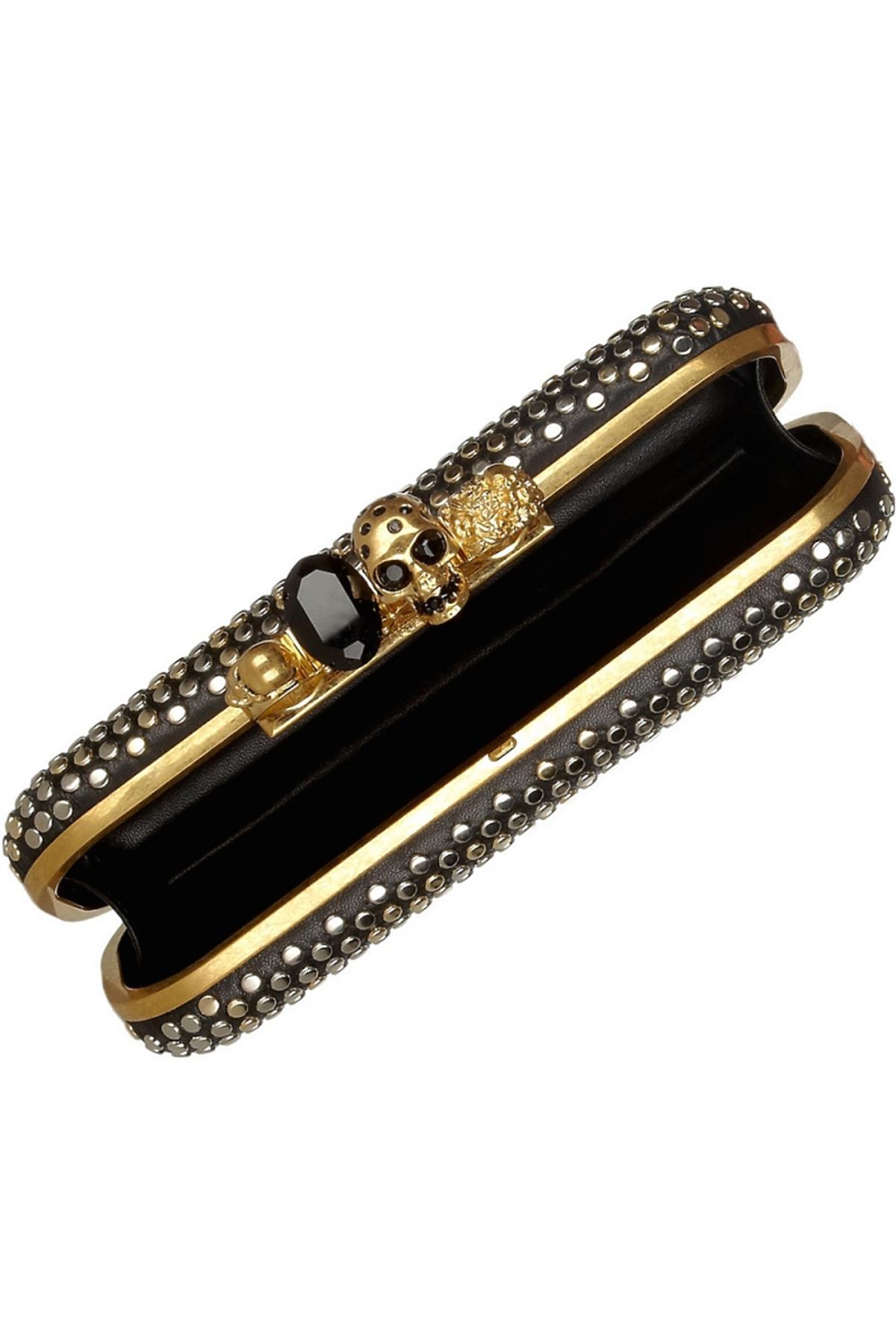Mała czarna torebka z kryształkami Swarovskiego z ozodbnym uchwytem w kształcie czaszki