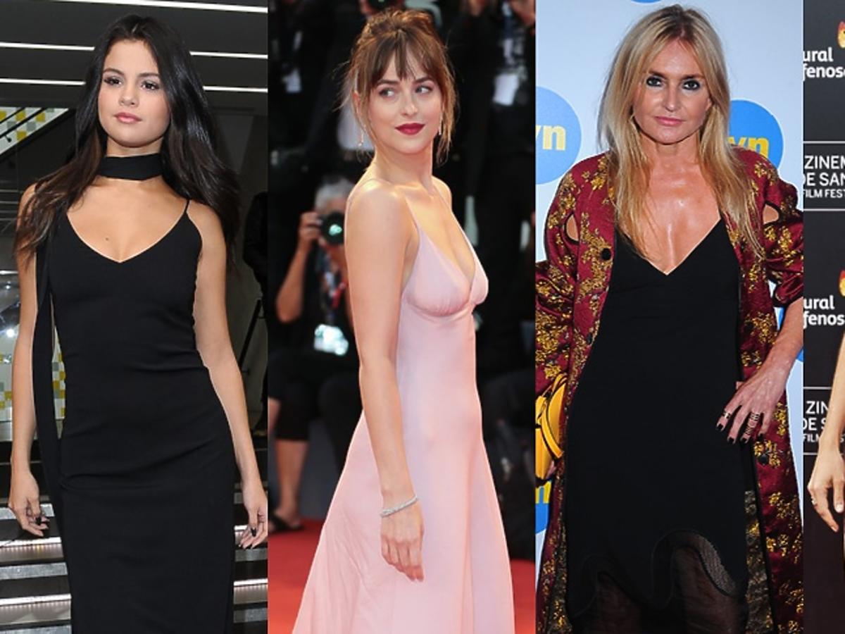 Selena Gomez, Sienna Miller, Monika Olejnik, Dakota Johnson w sukienkach halkowych