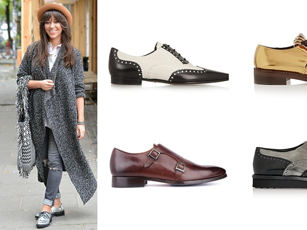 Damskie buty w męskim stylu na płaskiej podeszwie, Natalia Kukulska na ulicy