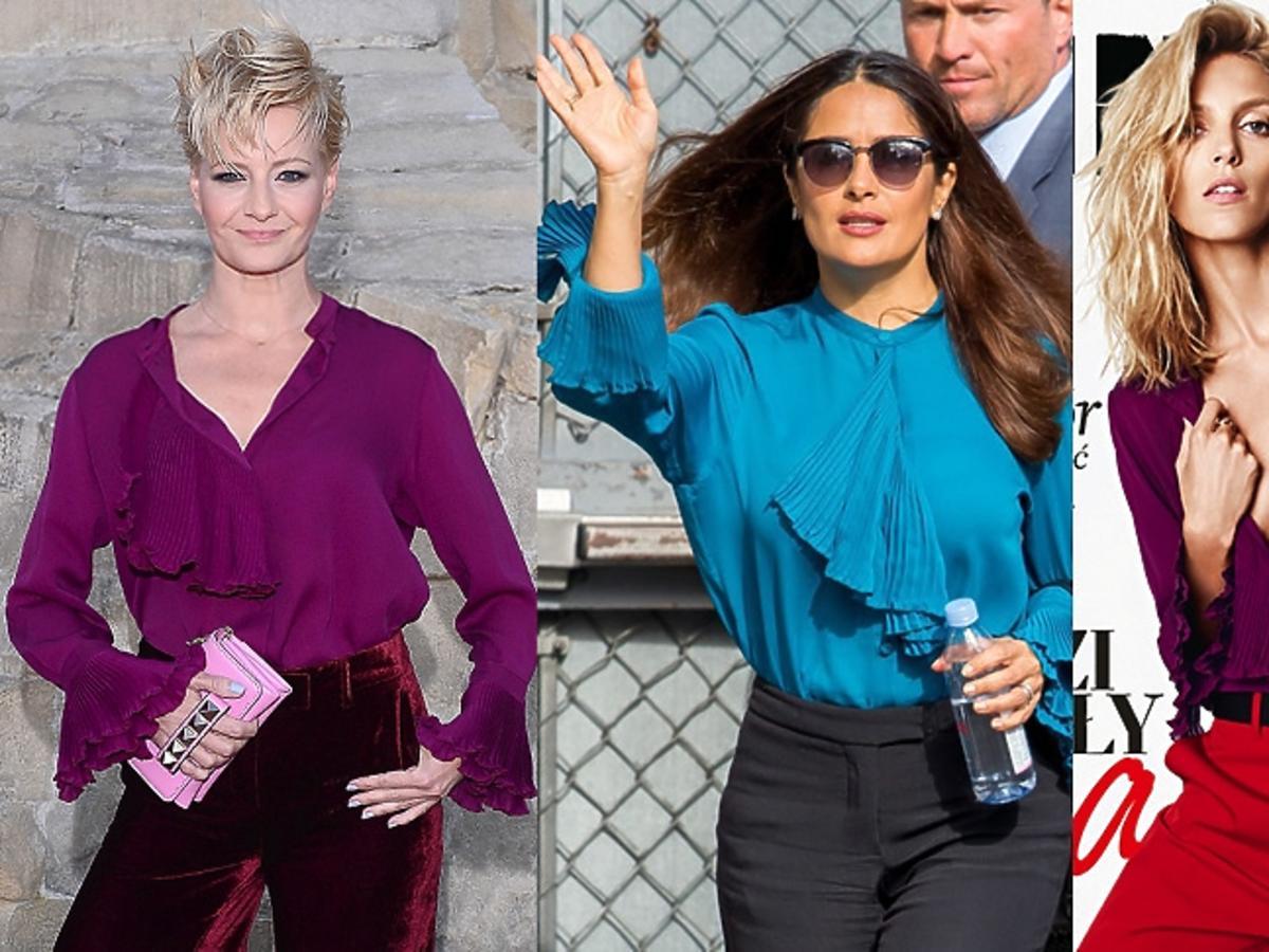 Małgorzata Kożuchowska , Salma Hayek , Anja Rubik w koszuli marki Gucci filoetowej i niebieskiej