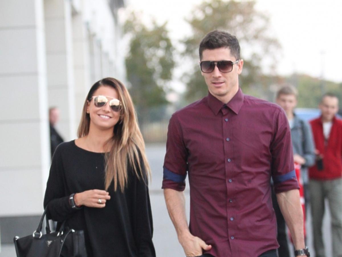 Anna Lewandowska i Robert Lewandowski na zgrupowaniu przed meczem