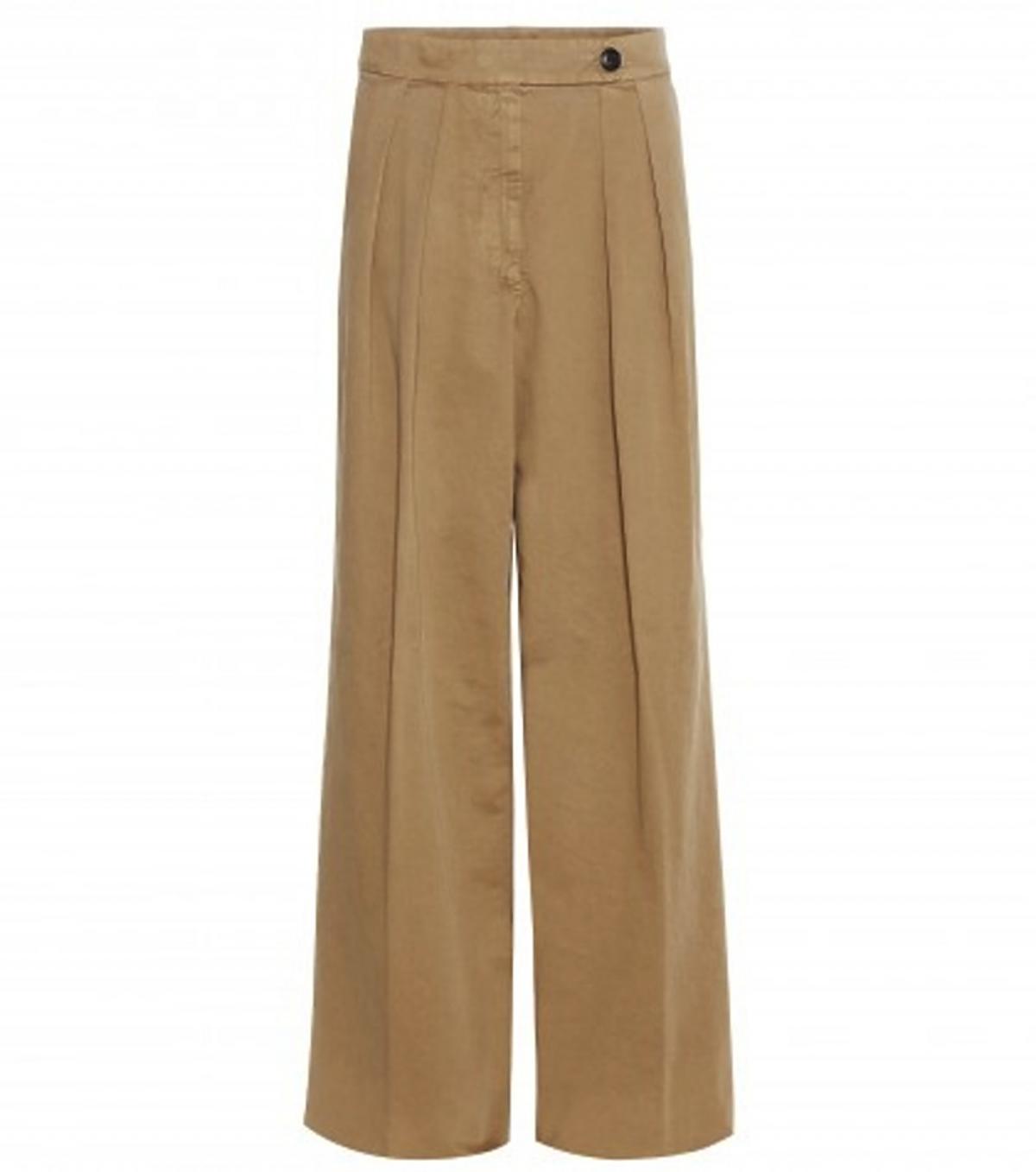 Brązowe szerokie spodnie Dries Van Noten