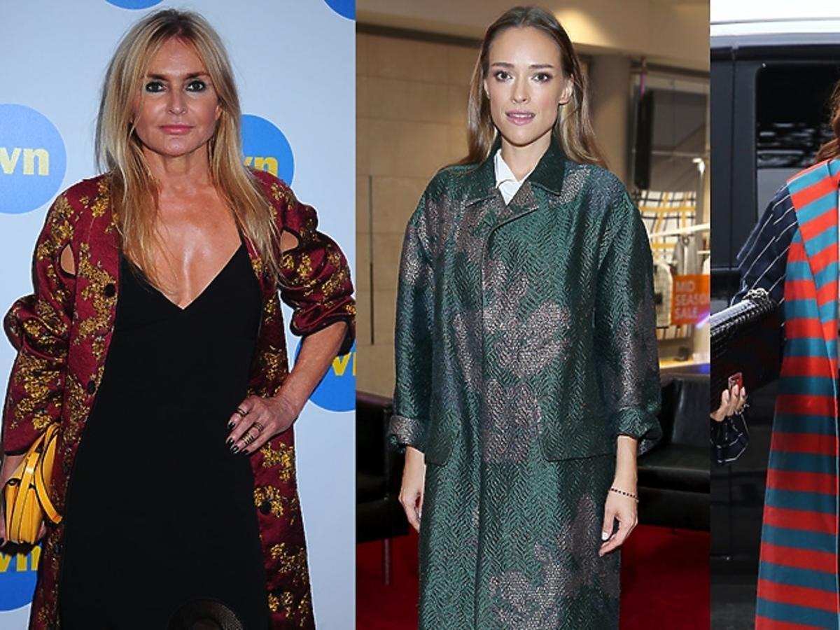 Rihanna, Monika Olejnik, Alicja Bachleda Curuś we wzorzystych płaszczach