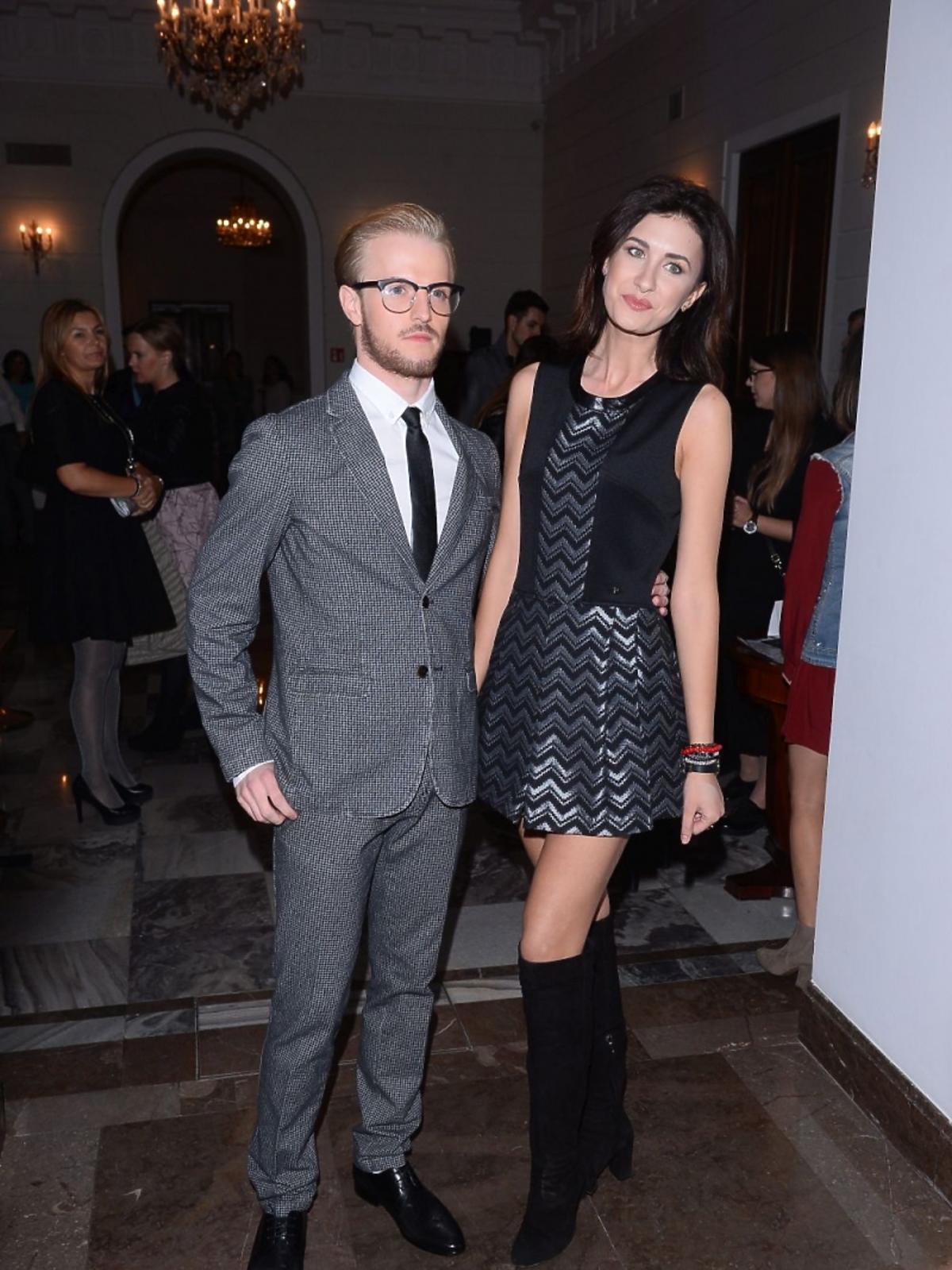 Ewa Mielnicka i Ian Rooth na pokazie mody Tru Trussardi