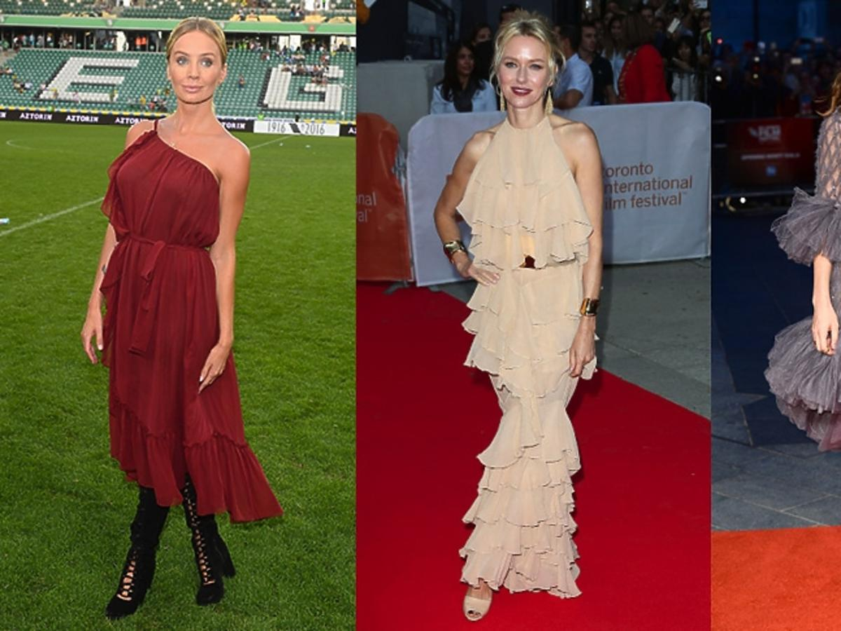 Agnieszka Szulim, Naomi Watts, Carey Mulligan w sukienkach z falbanami