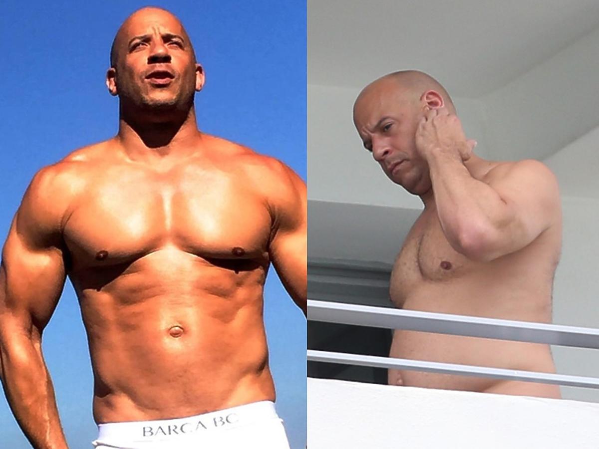 Vin Diesel na dwóch zdjęciach, porównanie nagiego torsu kiedyś i dziś.