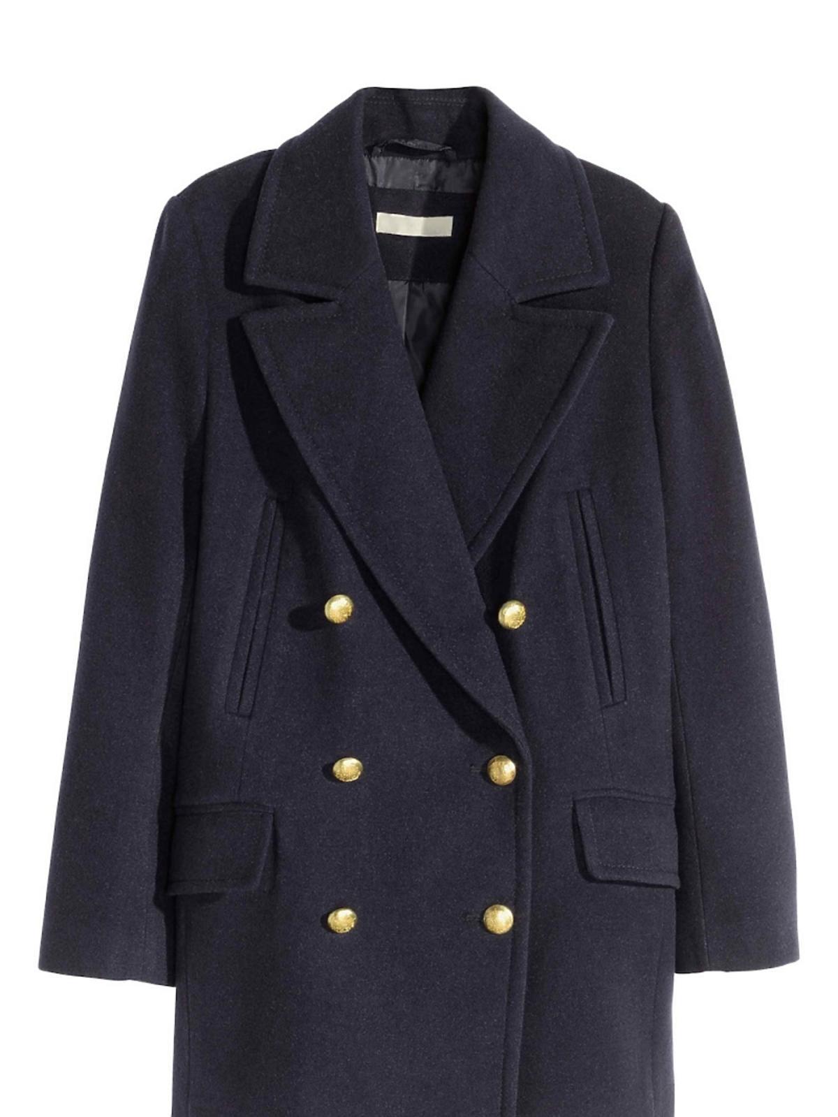 Czarny militarny płaszcz z guzikami