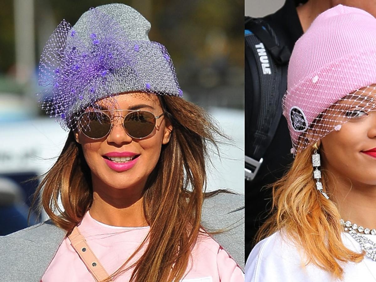 Edyta Górniak i Rihanna w różowej i fioletowej czapce z woalką