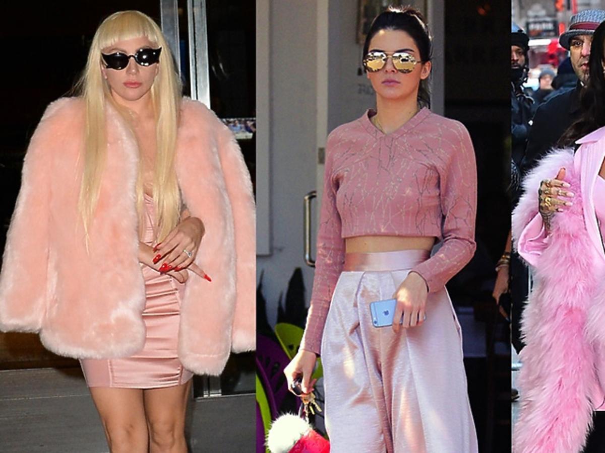 Lady Gaga, Kendall Jenner, Rihanna w różowym total looku