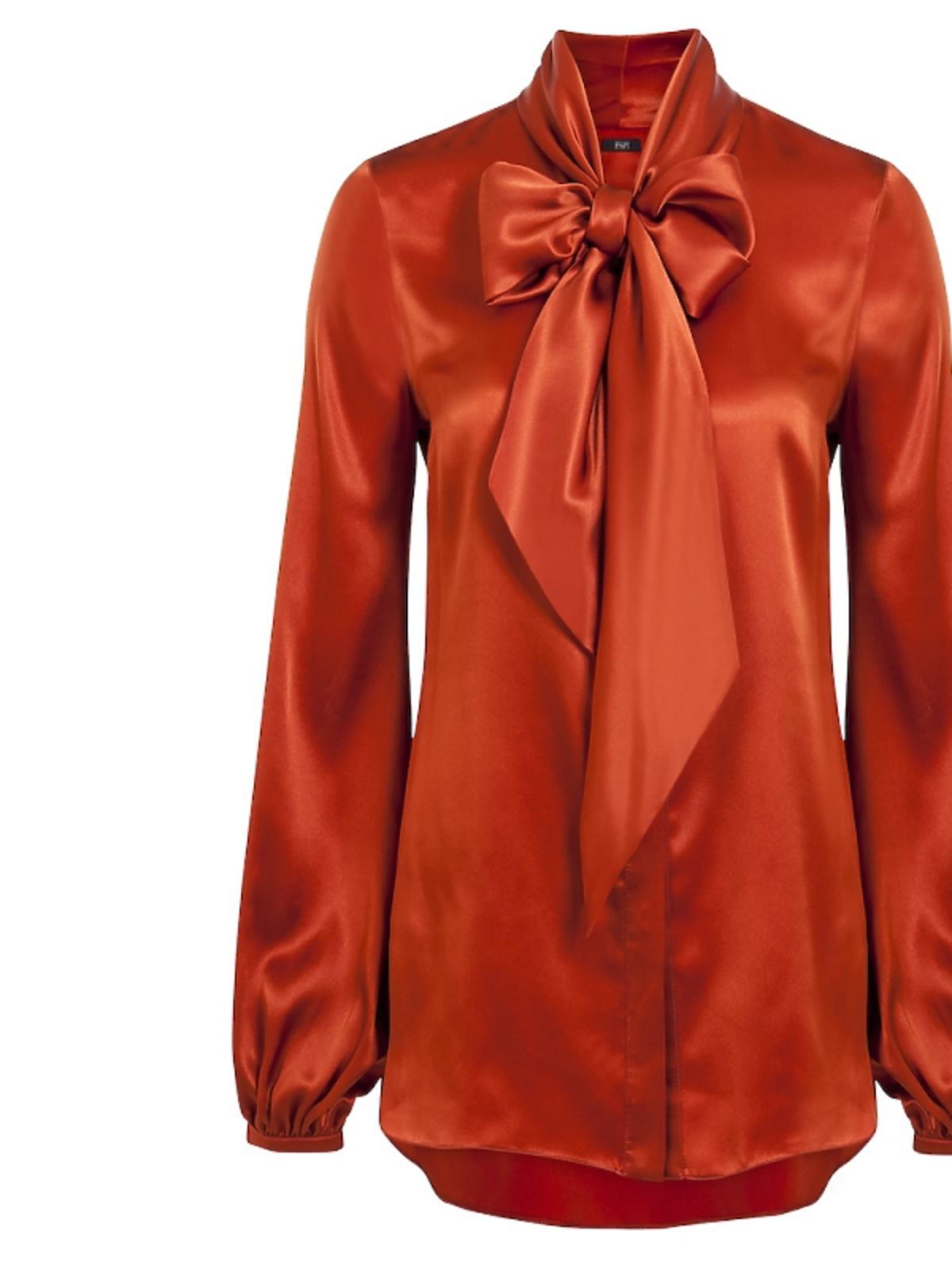 pomarańczowa bluzka z wiązaniem