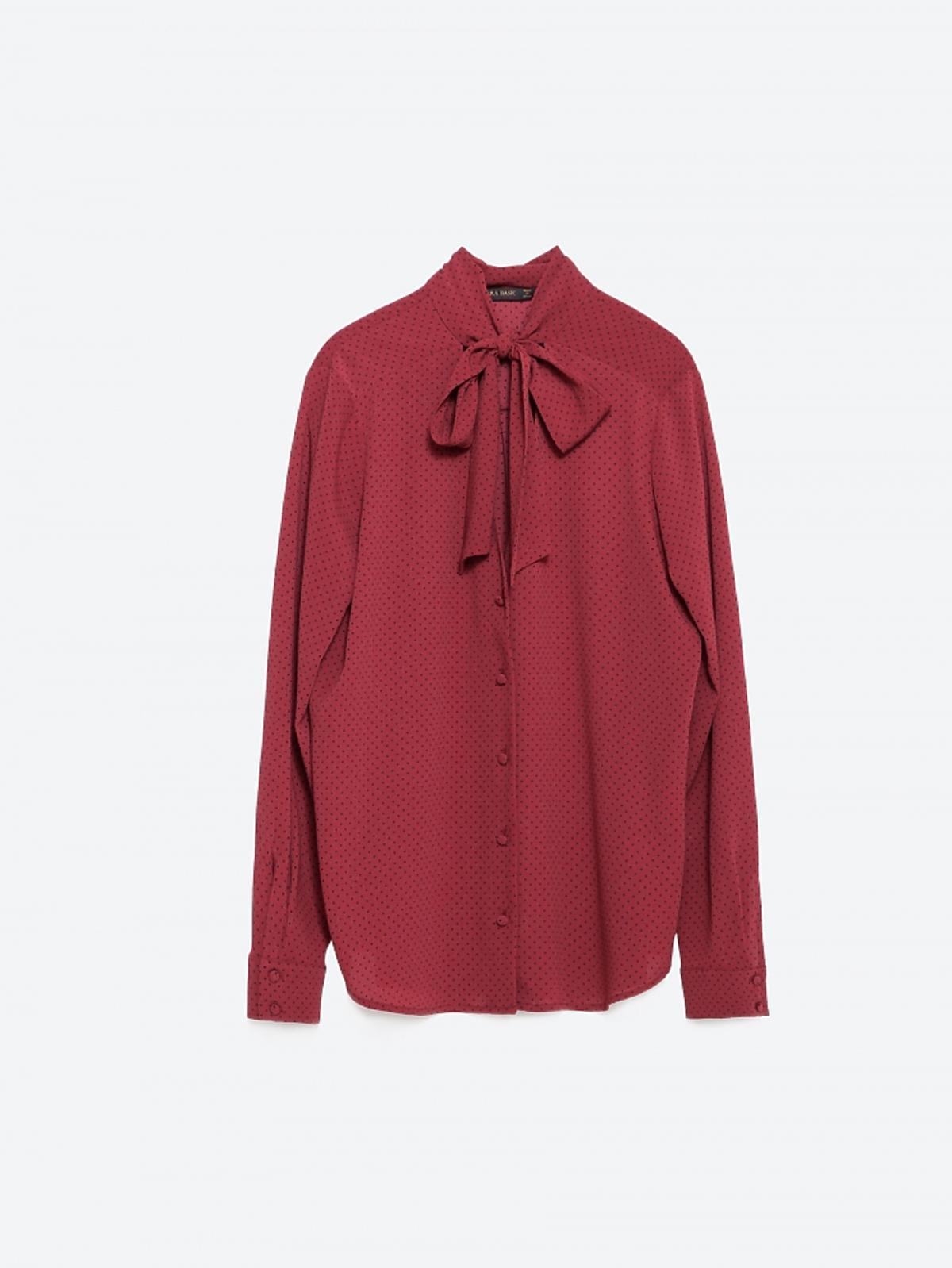 bordowa bluzka z wiązaniem