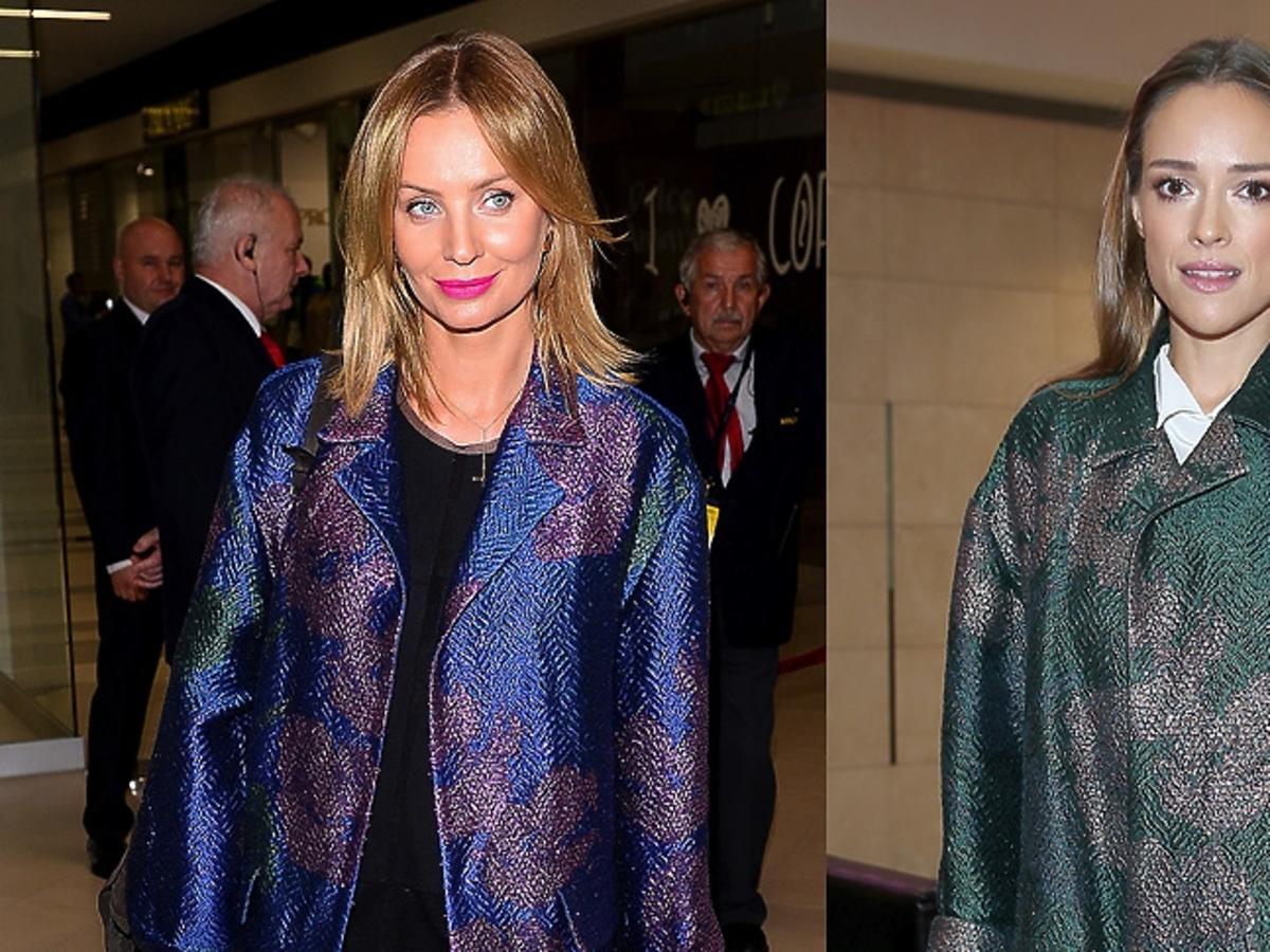 Agnieszka Szulim i  Alicja Bachleda-Curuś w błyszczących płaszczach we wzory niebieskim i zielonym