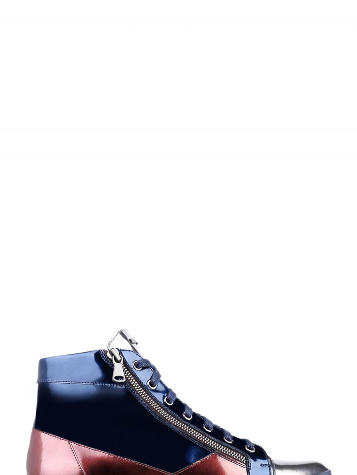 metliczne buty za kostkę na płaskiej podeszewie niebieko-czarno-czerwone
