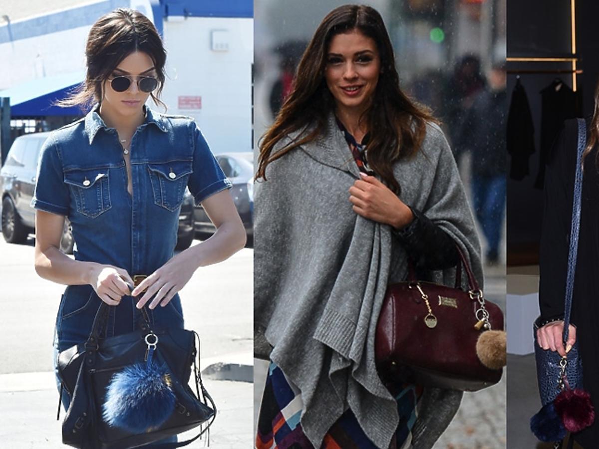 Kendall Jenner, Klaudia Halejcio, Maffashion noszą torby z futrzanymi pomponami