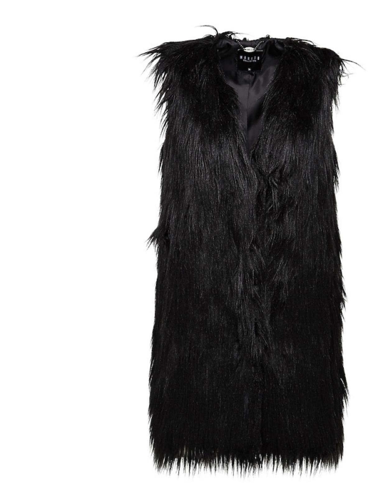 czarna  futrzana kamizelka