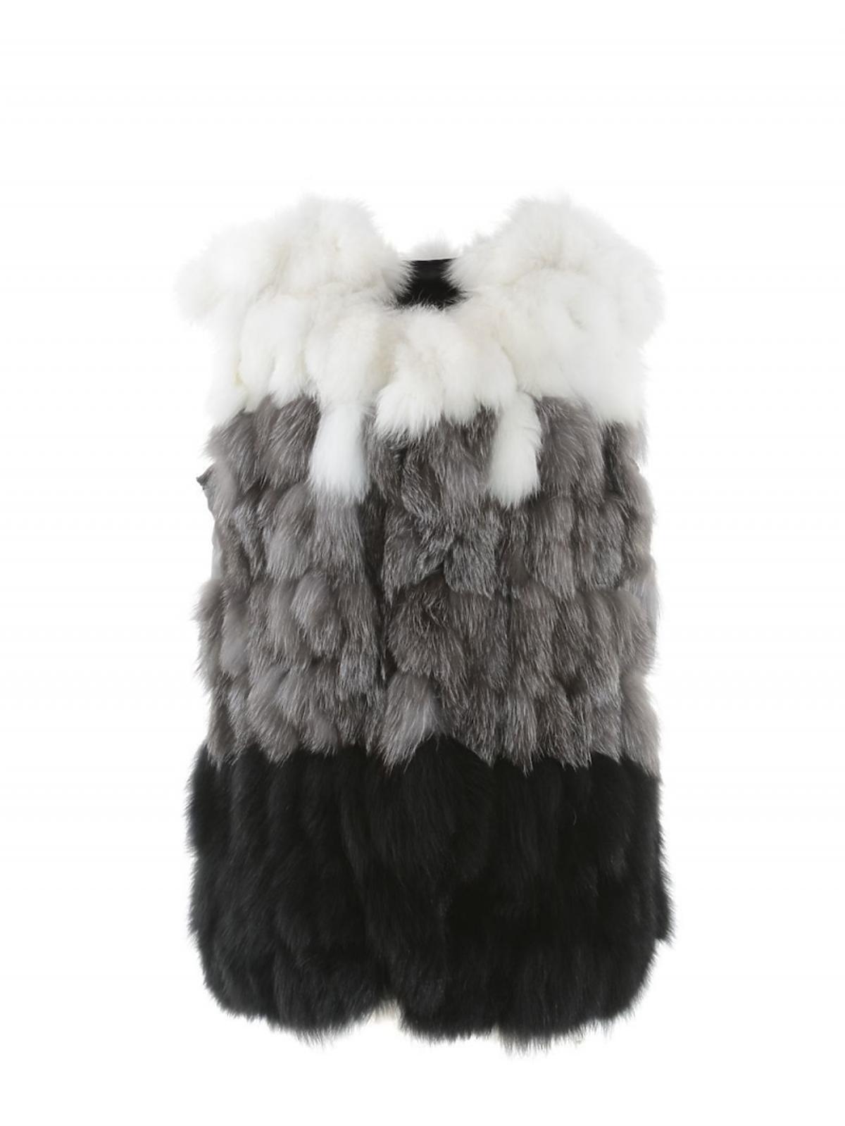 Futrzana kamizelka czarno-szaro-biała