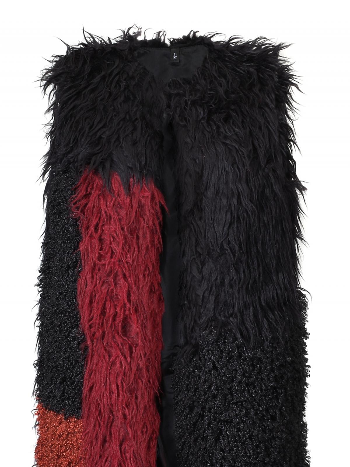 Futrzana kamizelka czarno-czerwona